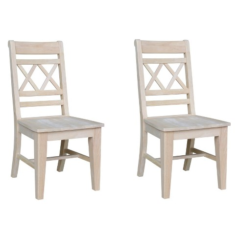 Set Of 2 Canyon Double X Back Chair Unfinished International Concepts
