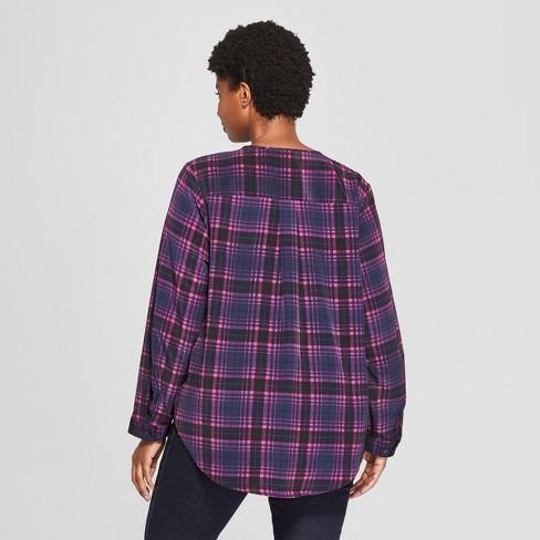 fbc3fb423f4 Women's Plus Size Plaid Long Sleeve Woven Popover - Ava & Viv™ Navy : Target