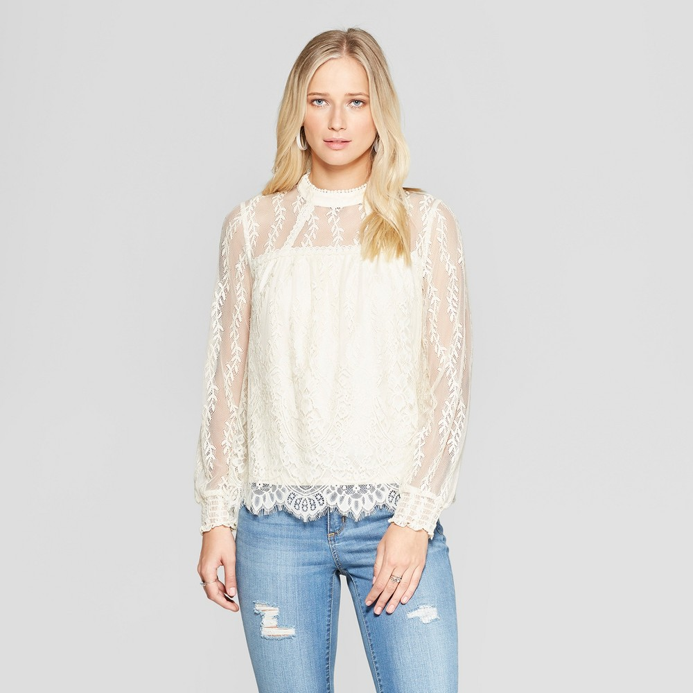 Women's Long Sleeve High Neck Lace Top - Xhilaration Ivory XL