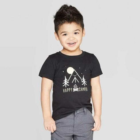 Toddler Boys' Jersey Happy Camper T-Shirt - Cat & Jack™ Black - image 1 of 3