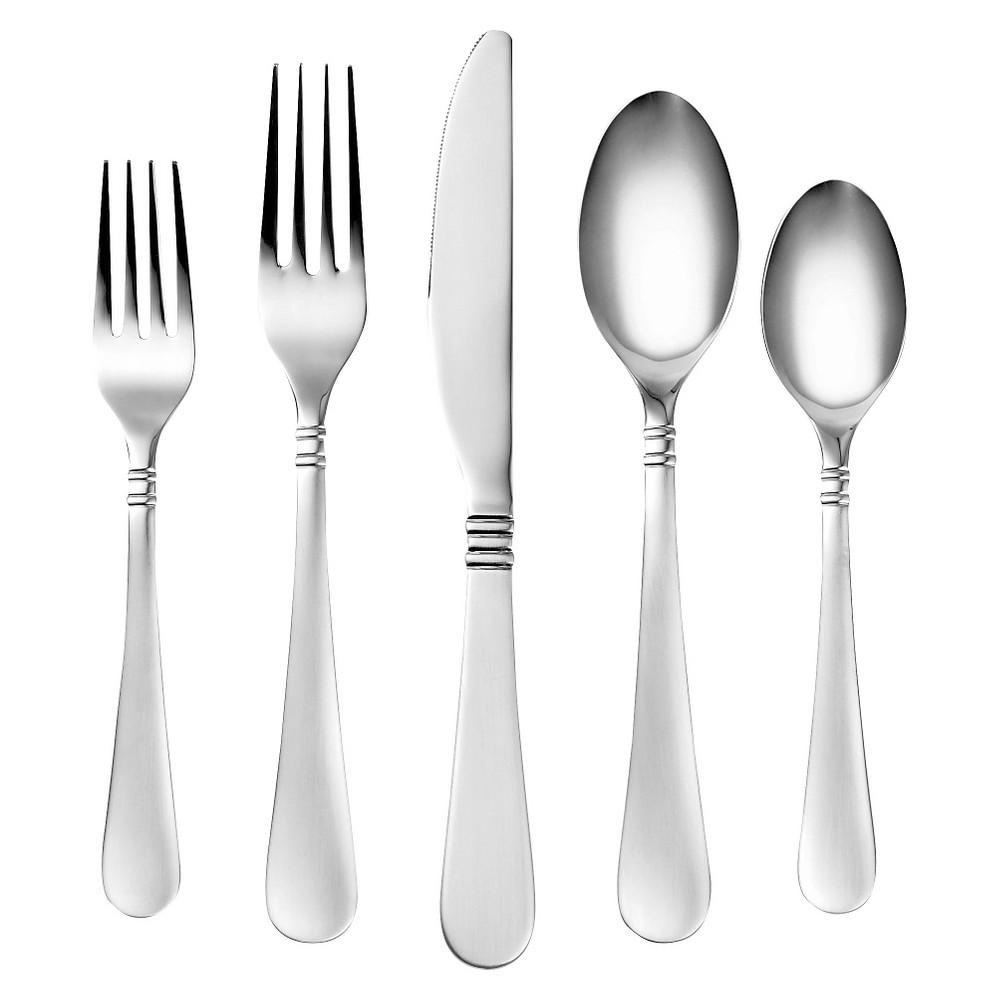 Corelle Coordinates Sarah Satin 20 Piece Silverware Set, Silver
