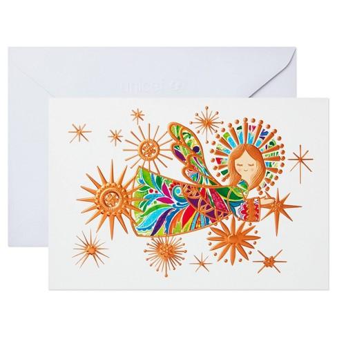 10ct Hallmark Unicef Colorful Angel on White Background - image 1 of 4