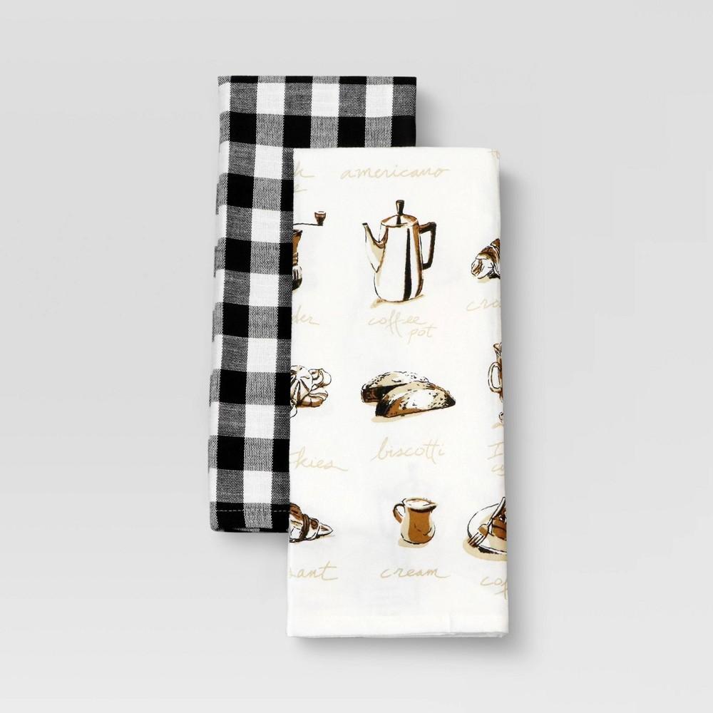 2pk Cotton Printed Kitchen Towels Brown Threshold 8482