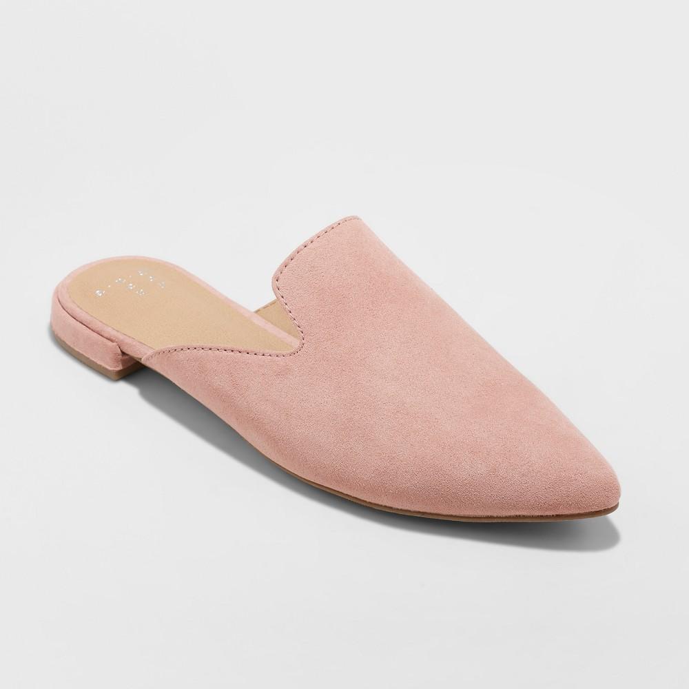 Women's Velma Wide Width Slip On Pointy Toe Mules - A New Day Pink 6W, Size: 6 Wide