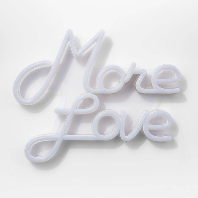 More Love LED Neon Wall Sign White - Room Essentials™