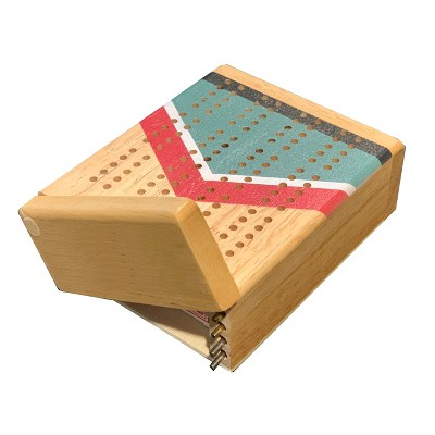 WE Games Mini Travel Cribbage Set - Nautical Print - Solid Wood 2 Track Board with Swivel Top and Storage for Cards and Metal Pegs