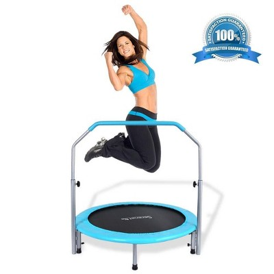 SereneLife SLELT403 40 Inch Adults Indoor Home Gym Outdoor Sports Exercise Fitness Trampoline with Handlebar and Padded Frame Cover