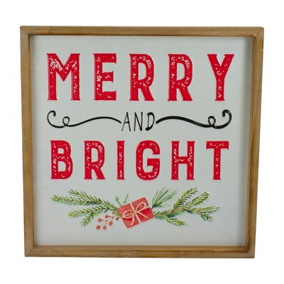 """Northlight 16"""" White and Red """"Merry And Bright"""" Metal Christmas Sign With Wood Frame Wall Decor"""