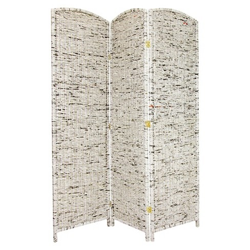 6 Ft Tall Recycled Newspaper Room Divider 3 Panel Oriental
