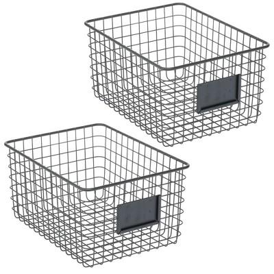 mDesign Metal Wire Food Organizer Storage Bin, 2 Pack