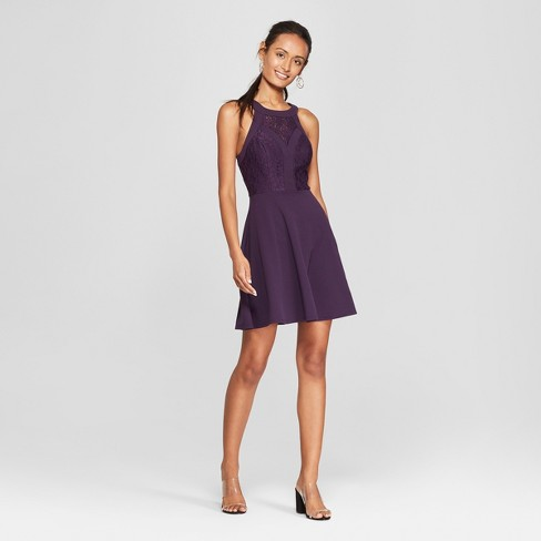 Women s Sleeveless Lace Skater Dress - Lots of Love by Speechless (Juniors )  Plum 0d5bd4522