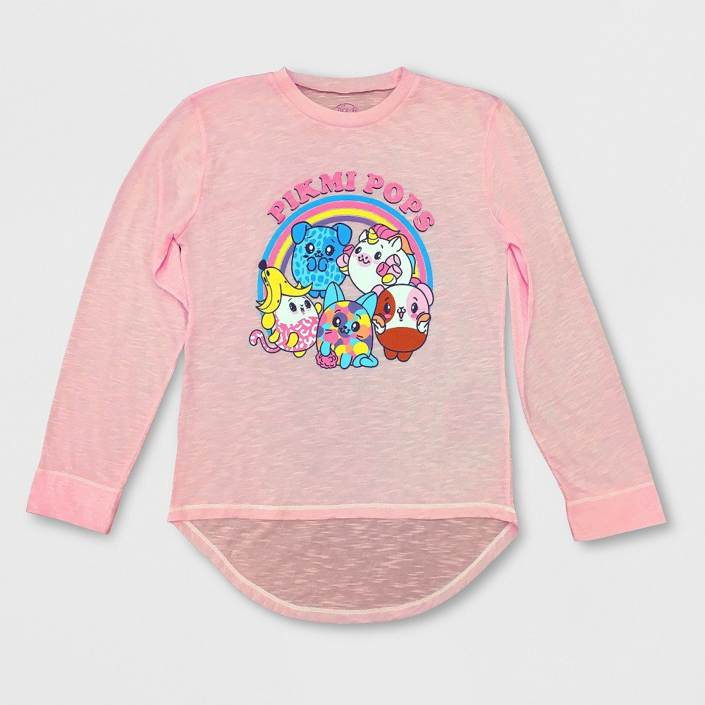 Girls' Pikmi Pops Long Sleeve T-Shirt - Light Pink M