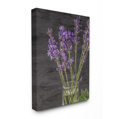 Stupell Industries Lavender Jar Purple Green Wood Texture Design