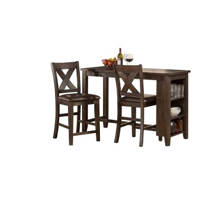 3pc Spencer Counter Height Dining Set with X Back Stools Wood Dark Espresso/Brown Faux Leather - Hillsdale Furniture