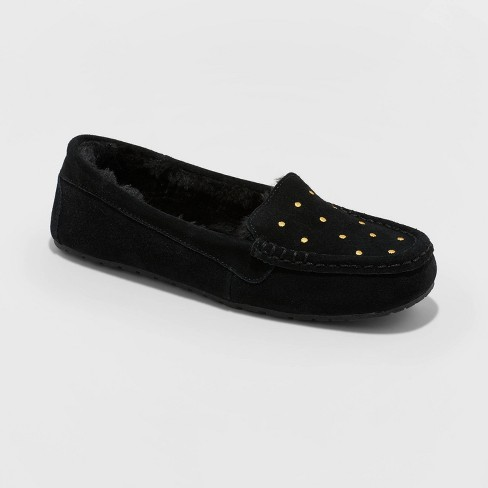 Women's Gemma Genuine Suede Moccasin Slippers - Stars Above™ Black - image 1 of 4