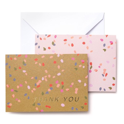 50ct Thank You Confetti Blank Note Cards