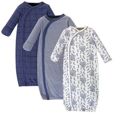 Touched by Nature Baby Organic Cotton Kimono Long-Sleeve Gowns 3pk, Elephant, 0-6 Months