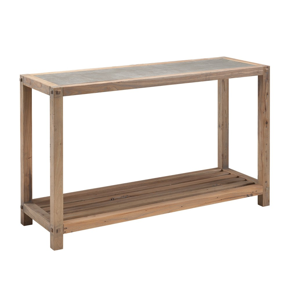 Caverly Reclaimed Wood Console Table Aged Natural With Cement Gray - Aiden Lane