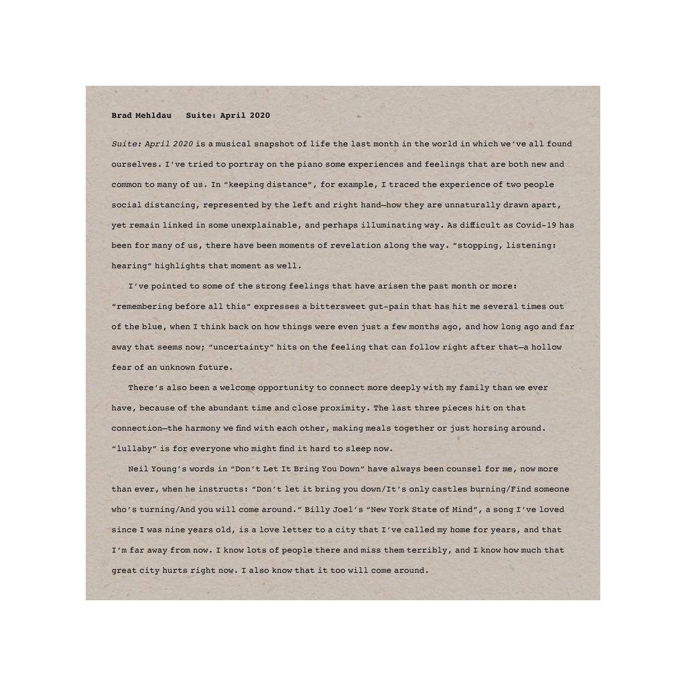 Brad Mehldau Suite April 2020 Cd