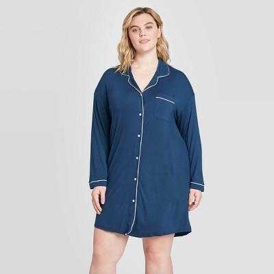 Women's Plus Size Beautifully Soft Long Sleeve Notch Collar Nightgown - Stars Above™ Navy 1X