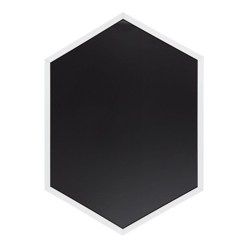 "22"" x 31"" Laverty Hexagon Framed Magnetic Chalkboard White - Kate and Laurel - image 1 of 4"