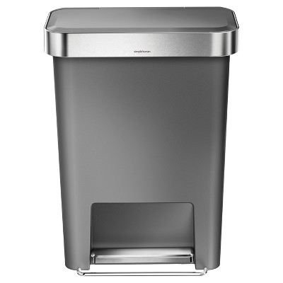 simplehuman 45L Rectangular Step Trash Can Gray