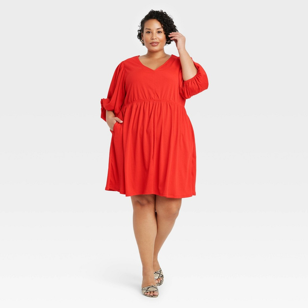 Women 39 S Plus Size Long Sleeve Knit Babydoll Dress Ava 38 Viv 8482 Red 4x