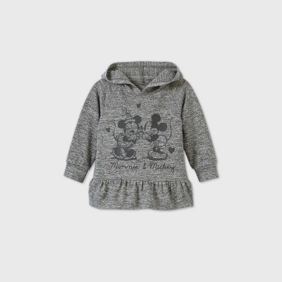 Toddler Girls' Mickey and Minnie Mouse Hooded Pullover Sweatshirt - Heather Gray