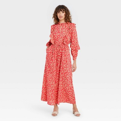 Women's Floral Print Balloon Long Sleeve Soft Ruffle Dress - Who What Wear™
