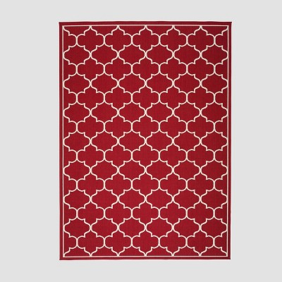 Thornhill Geometric Outdoor Rug Red/Ivory - Christopher Knight Home