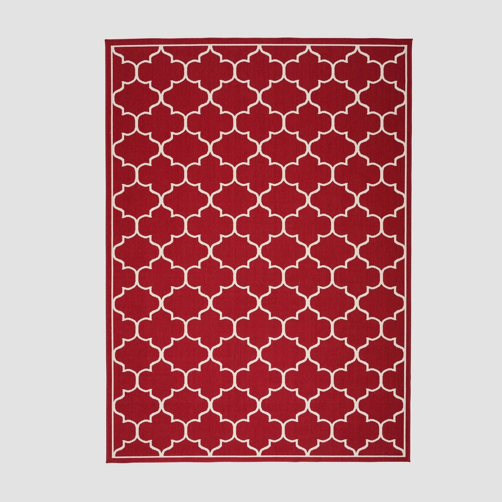 8' x 11' Thornhill Geometric Outdoor Rug Red/Ivory - Christopher Knight Home
