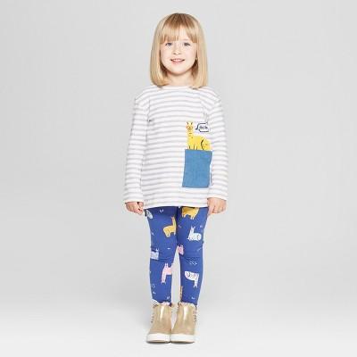 Toddler Girls' 2pc Llama Long Sleeve T-Shirt and Leggings Set - Cat & Jack™ Violet 12M
