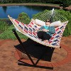 Quilted Hammock with Curved Bamboo Spreader Bars - Red/Gold Quatrefoil - Sunnydaze Decor - image 3 of 4