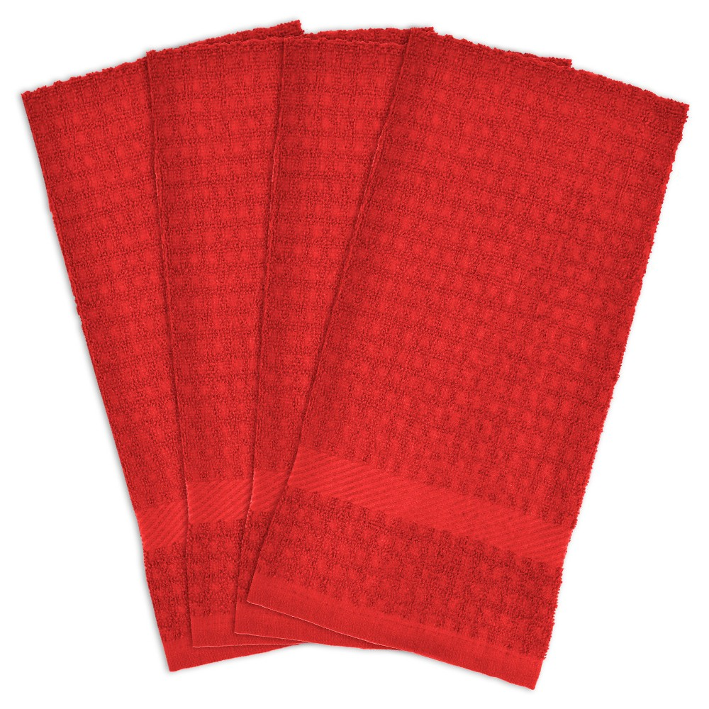 4pk Solid Waffle Kitchen Towels Red Design Imports