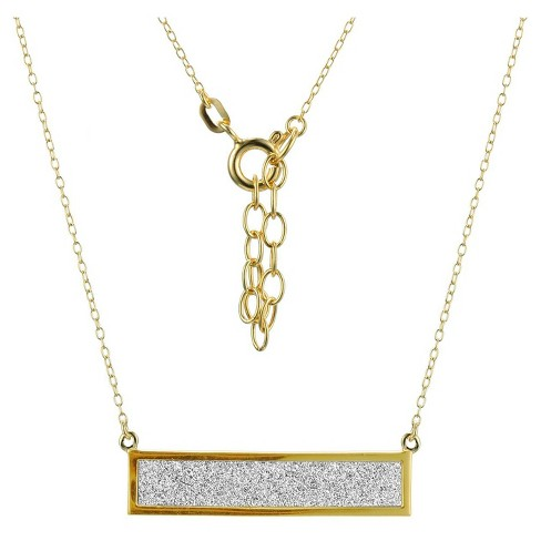 "18k Yellow Gold Plated Sterling Silver Glitter Geometric Necklace with 16""+2"" Ext Chain - image 1 of 1"