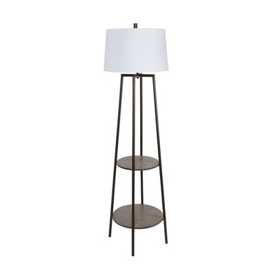 """63"""" Tristan Silverwood Floor Lamp with Shelves (Includes LED Light Bulb) Gunmetal - Decor Therapy"""