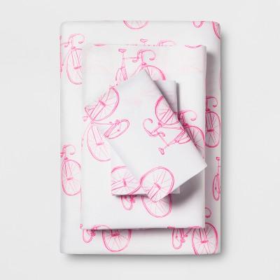 Microfiber Printed Sheet Set (Twin/Twin XL)Pink Bicycle - Room Essentials™