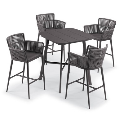 """Eiland 5pc Patio Set with 36"""" Square Bar Table & 4 Nette Bar Chairs - Oxford Garden"""