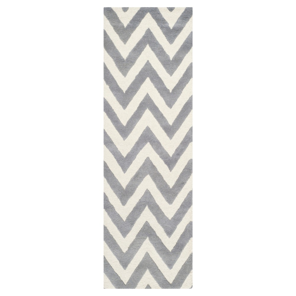 Dalton Textured Rug - Silver / Ivory (2'6 X 12') - Safavieh, Silver/Ivory