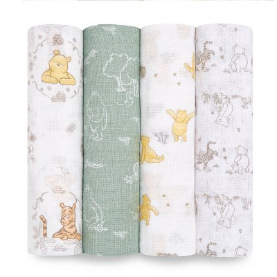 Aden + Anais Essentials Muslin Swaddles Disney Winnie + Friends - Beige 4pk