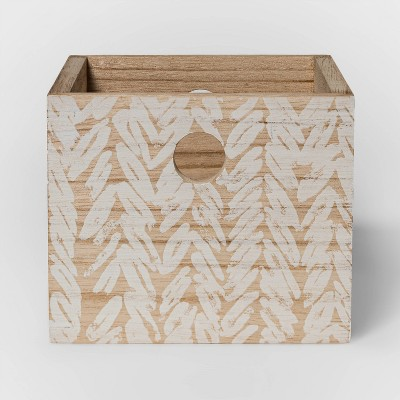 Wood Crate with Design White - Threshold™