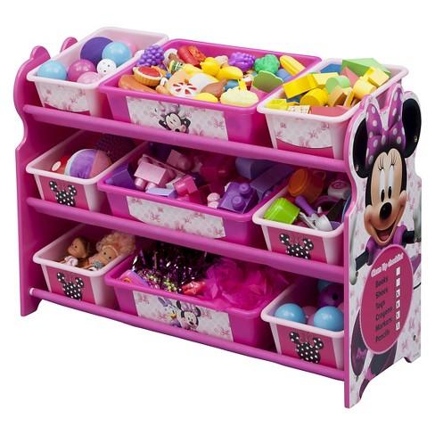 9 Bin Plastic Toy Organizer Disney Minnie Mouse Delta Children