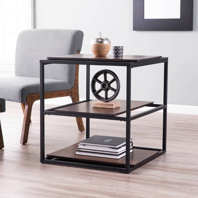 Decklan Sliding Shelf End Table Dark Tobacco/Black - Holly & Martin
