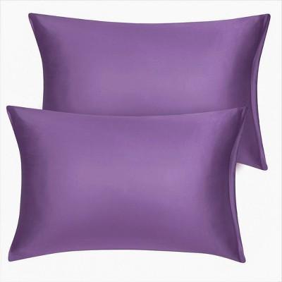 2 Pcs King Silk Satin with Zipper Pillowcase Purple - PiccoCasa