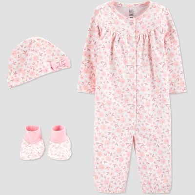 Baby Girls' 3pc Floral Converter Nightgown - Just One You® made by carter's Pink 9M