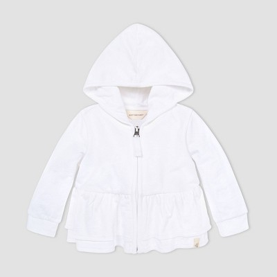Burt's Bees Baby® Baby Girls' Zip-Front Hooded Jacket - White 6-9M