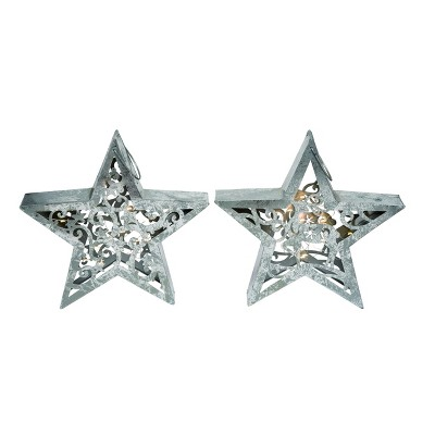 Transpac Metal 14 in. Silver Christmas Light Up Die Cut Star Decor Set of 2