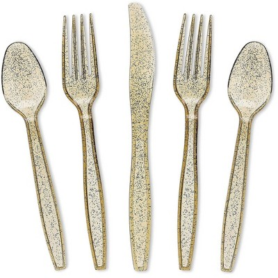 Juvale 96 Pack (Serves 32) Gold Glitter Disposable Plastic Cutlery Party Set Forks Spoons Knives