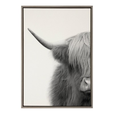 "23"" x 33"" Sylvie Highland Cow Crop Framed Canvas Wall Art by The Creative Bunch Studio Gray - Kate and Laurel"