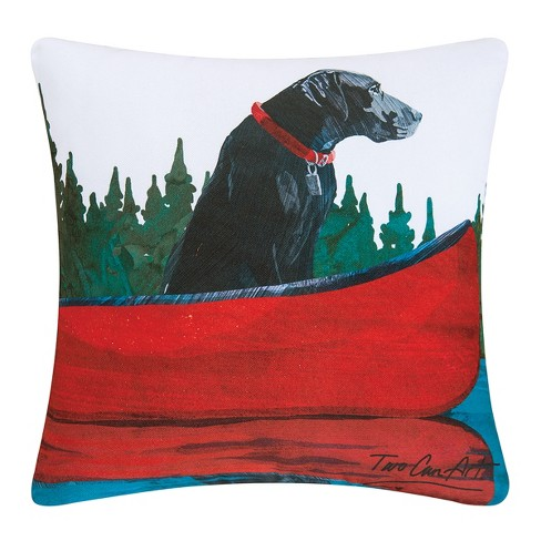 C&F Home Black Lab Dog in Canoe Indoor/Outdoor Decorative Throw Pillow - image 1 of 4